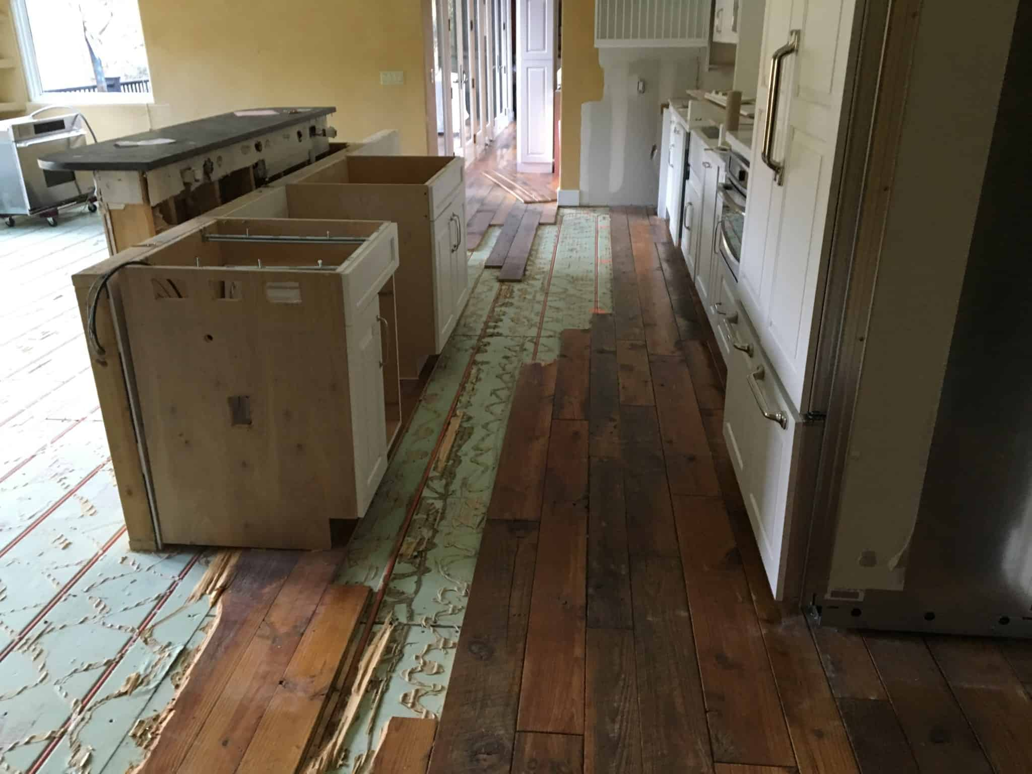 FGS water damage restoration - Kitchen island before, Pine, Colorado